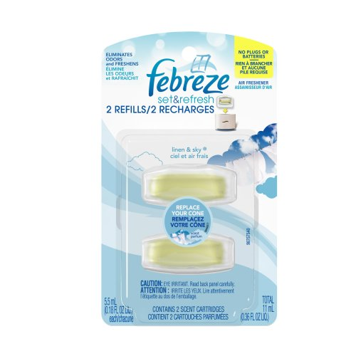 Febreze Set and Refresh Plus Refill Linen and Sky Air Freshener 2 Count (Pack of 8)