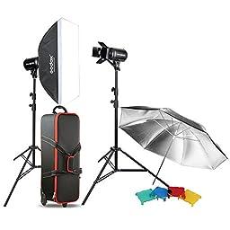 Masione Godox 2pcs E160 320w Flash Light Kit Studio Photography Umbrella Softbox Strobe