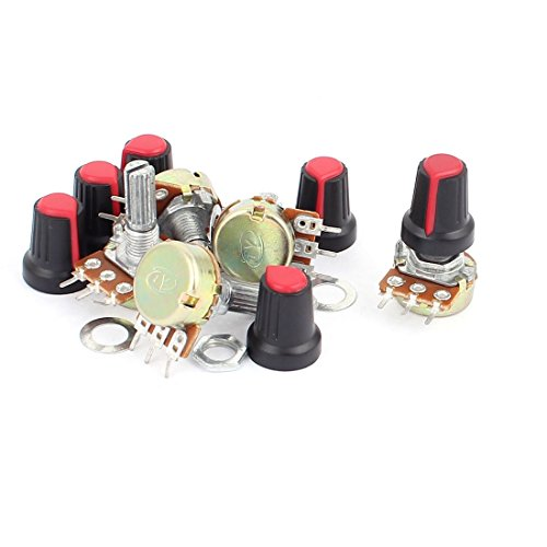 uxcell® 6Pcs B1K 1Kohm 20mm Linear Rotary Shaft Audio Taper Potentiometers Red