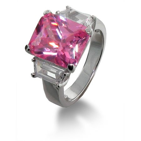 Pink CZ Sterling Silver Engagement Ring Size 5 (Sizes 5 6 7 8 9 Available)