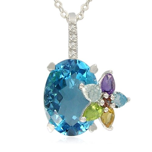 Sterling Silver Oval-Shaped Blue Topaz with Multi-Gemstone Flower Pendant Necklace , 18.5