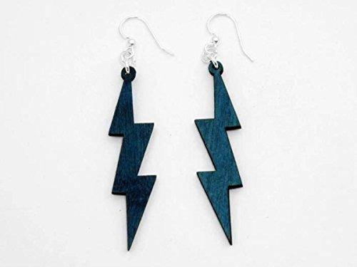 [Teal Lightning Thunder Bolts Wooden Earrings Jewelry] (Thunder Lightning Costume)