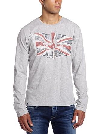 Pepe Jeans - FLAG LOGO LS - Homme - T-shirts et Polos - Gris (GREY MARL) -  M