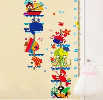 Cartoon Fish Kid'S Bedroom Measuring Height Stickers front-215271