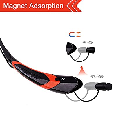 Bluetooth Headphones,LIGHTDESIRE Sport Wireless Headsets In-Ear Earbuds with Mic Sweatproof Running Gym Exercise Earphones for Iphone,Android Smart Phones, Bluetooth Devices (Orange)