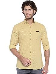 Showoff Men's Yellow Slim Fit Casual Shirt