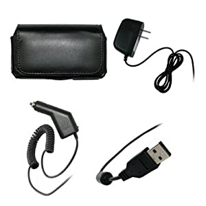HTC Evo 4G Executive Black Horizontal Leather Side Case Pouch with Belt Clip and Belt Loops + Rapid Car Charger + Travel Home Wall Charger + USB Data Charge Sync Cable for HTC Evo 4G