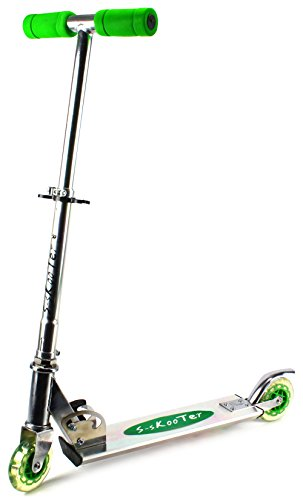 S-Skooter Children's Two Wheeled Metal Toy Kick Scooter w/ Adjustable Handlebar Height, Rear Fender Brake (Green)
