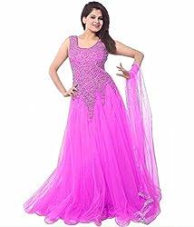 Clickedia Women's Net Gown (Purple Net Gown _Navy Blue_)