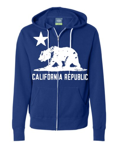 California Flag White Silhouette Zip-Up Hoodie By Dsc - Cobalt Xx-Large front-239594