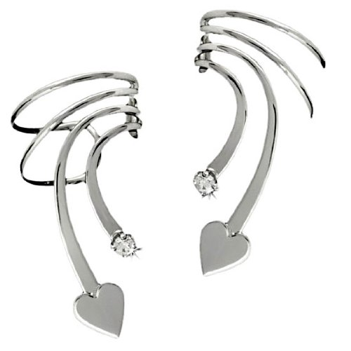 Sterling Silver Pierceless Left And Right Short Wave Heart And Cubic Zirconia Ear Cuff