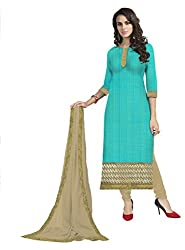 Lovely Look Latest Sea Green Embeoidered Dress Material