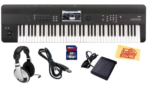 Korg Krome 73 Key Semi-Weighted Music Workstation Keyboard Bundle With Sd Card, Usb Cable, Sustain Pedal, Headphones And Polishing Cloth