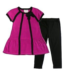 Flapdoodles Toddler Girls 2T-4T Magenta Black Bow Sweater Top Leggings Set