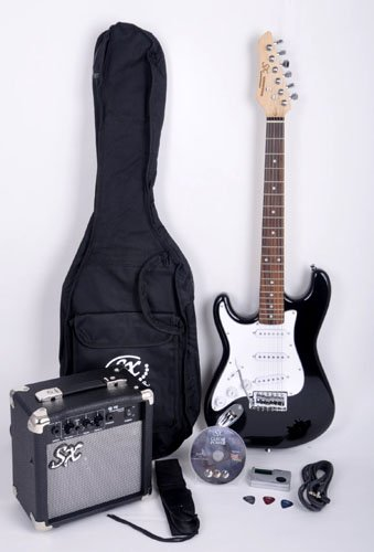 SX RST 3/4 LH BK Left Handed Short Scale Black Guitar Package with Amp, Carry Bag and Instructional DVD