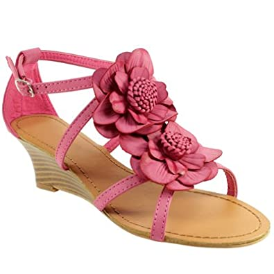 womens low wedge heel floral pink petal sandals co