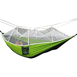 Camping Hammock, Rusee Mosquito Net Outdoor Hammock Travel Bed Lightweight Parachute Fabric Double Hammock For Indoor, Camping, Hiking, Backpacking, Backyard