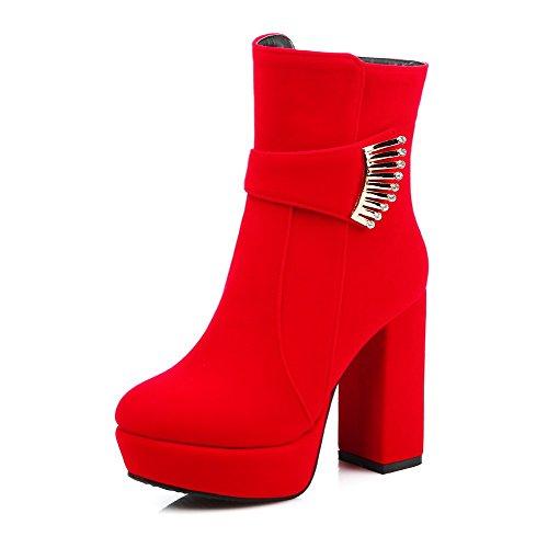 AmagooTer Donna Bassa Altezza Puro Cerniera Tacco Alto Stivali con Ornamento Di Metallo, Rosso, 40