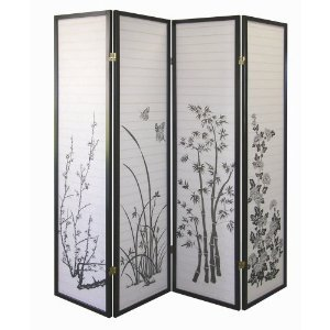 Amazon.com - Legacy Decor Black 4-panel Bamboo Floral Room Divider