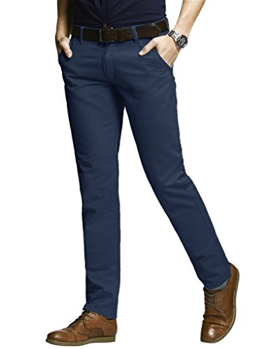 Match Men's Slim Fit Tapered Stretchy Casual Pants (34W x 31L, 8050 Navy Blue#1) (Skinny Dress Pants compare prices)