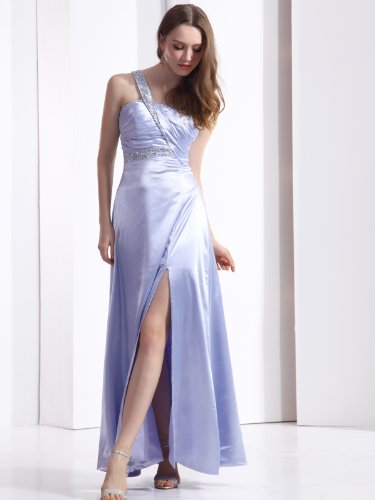 Landybridal 2013 New Style Sheath Column One Shoulder Floor Length Lavender Satin Evening Dress F12070
