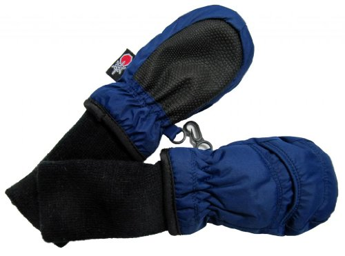 SnowStoppers Kid's Waterproof Stay On Winter Nylon Mittens Extra Small / 6-18 Months Navy blue