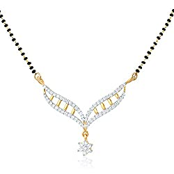 Mahi Gold Plated Eternal Bliss Mangalsutra Pendant with CZ for Women PS1191550G