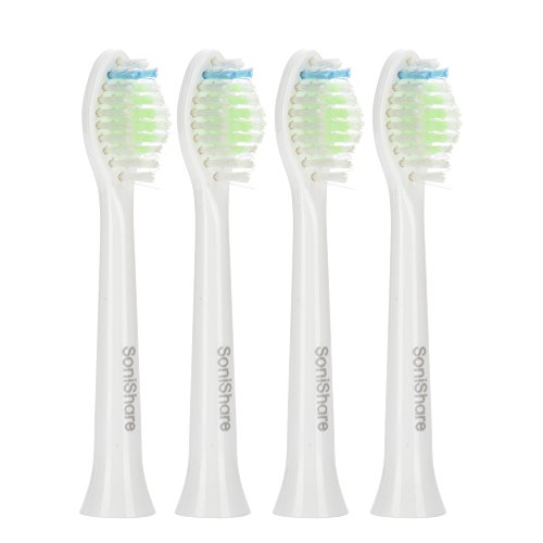 SoniShare Diamond Clean Replacement Heads for Philips Sonicare Toothbrushes, 4 Pack