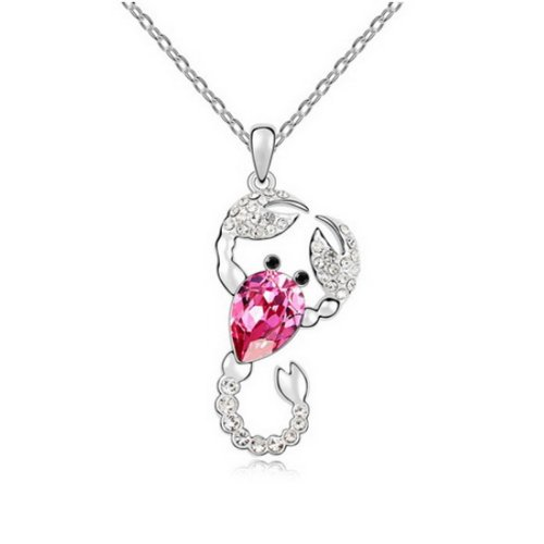 "Alvdis Fashion Jewelry Scorpion Style Alloy Swarovski Crystal Pendant Necklace, 16"", Pink"