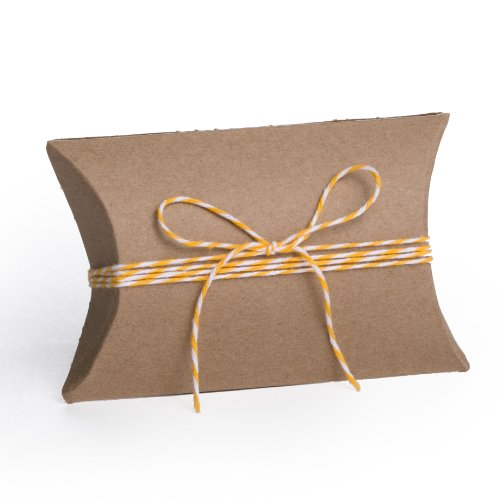 Dress My Cupcake Kraft Pillow 25-Pack Favor Boxes and Twine DIY Kit, 3.5-Inch, Yellow