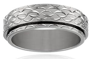 Men's Stainless Steel 8.0 mm Diamond Cut Spinner Plain Wedding Band, Size 8