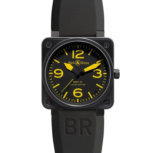 Bell & Ross BR0192YELL Automatic Stainless Steel Case Black Rubber Anti-Reflective Sapphire Men's Watch