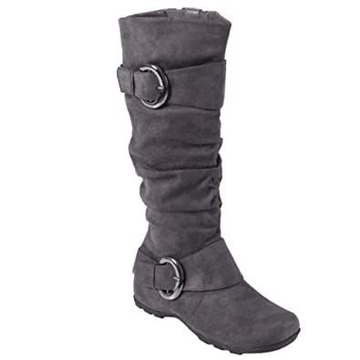 Brinley Co Womens Buckle Accent Slouchy Mid-calf Boots Grey 7.5 M US