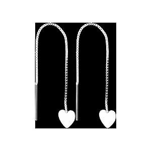 925 Sterling Silver HEART CHARM Threader Earrings