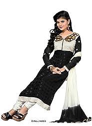 StarMart Women's Georgette Salwar Suit Dress Material (24003 _Black _Free Size)