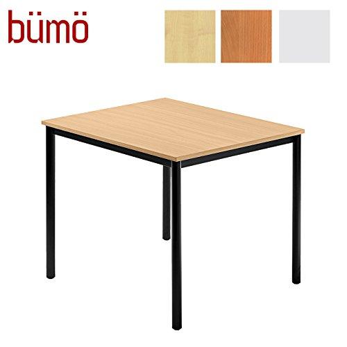 Bm-Tisch-fr-Konferenzraum-Pausenraum-Warteraum-od-Besprechungsraum-Konferenztisch-System-Meetingtisch-in-3-Dekoren-8-Varianten-Tischfe-Schwarz-Platte-Buche-Quadrat-80x80-cm