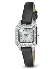 M&S Collection Diamanté Square Face Slim Strap Watch