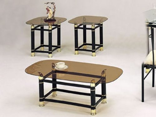 3Pc Coffee Table & End Table Set Green Finish
