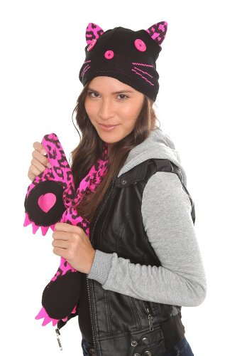 Too Fast Pink & Black Leopard Print Kitty Cat Beanie Hat Ears & Scarf Punk Goth