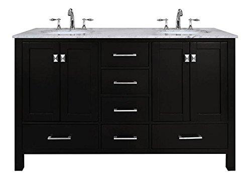 Stufurhome GM-6412-60ES-CR 60-Inch Malibu Espresso Double Sink Bathroom Vanity