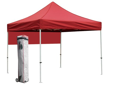 Eurmax Pro Wedding Party Tent 10X10 Outdoor Eazy Set Gazebo Pavilion Canopy BBQ Cater Events Bonus Roller Bag (Red, 10 X 10)