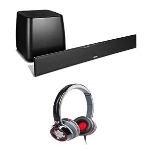 Polk Audio Surroundbar IHT 3000 Home Entertainment System Plus (1) Pair of Monster Ncredible Ntune (128893) On-Ear Headphones