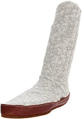 ACORN Unisex Slipper Sock, Grey Cotton Twist, L