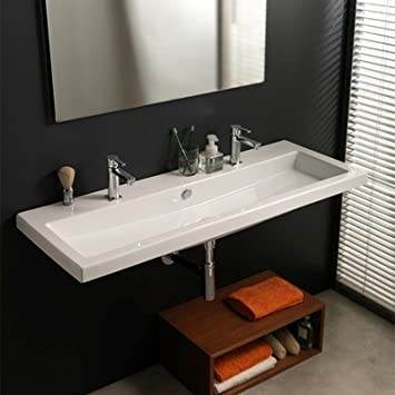 "Tecla Tecla CAN05011A-No Hole Cangas No Hole Ceramic Bathroom Sink with Overflow, 57.3"" L x 47.24"" W"