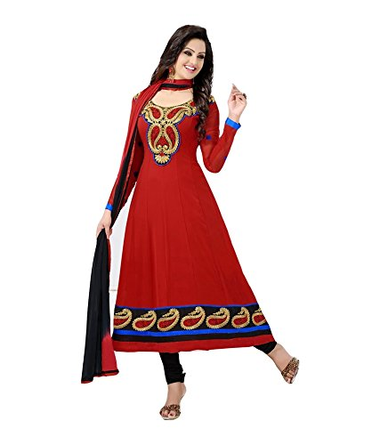 Makedeal Women's Embroidered Dress Material (Red_Free Size)