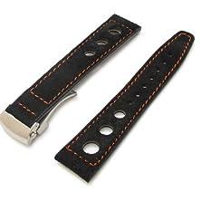 buy 22Mm Matte Black Suede In Orange Stitching Deployant Watch Strap, 3 Punch Holes Design