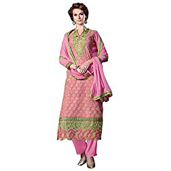 Shelina Women Pink Georgette Embroidered Partywear Suit