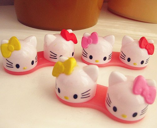 New 3D Colorful Cute Ribbon Bow Cat Plastic Contact Lens Case