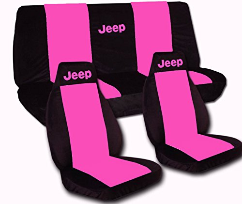 Front And Rear Black And Hot Pink Jeep Seat Covers. 2008 To 2010 Jeep Wrangler 4 Door. Side Airbag Friendly