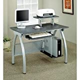 Metal and Glass Computer Workstation by Coaster Furniture